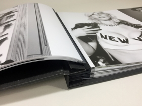 Close up of our custom fabric Hinged Pages
